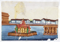 Religious edifice on raft during a festival, probably at Trichinopoly.